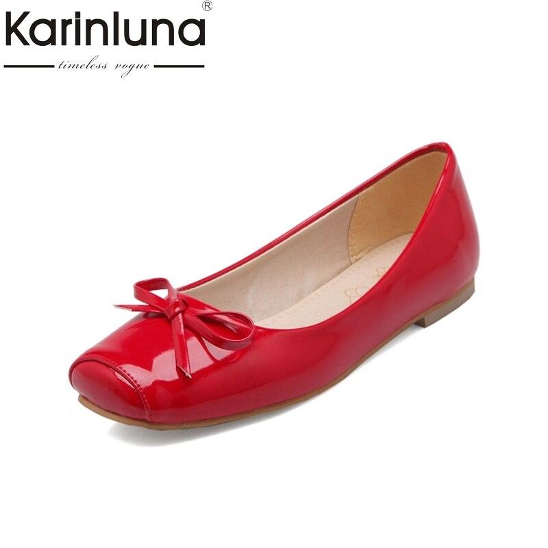 Karinluna/большой Размеры 30-49 Для женщин квадратный носок Туфли без каблуков качество патент верхней слипоны Удобная стелька Обувь Дамы бабочко...