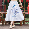 Summer New Blue And White Peacock Pattern Embroidery Sequin Long Pleated Skirt Fashion 2016 Women Casual 50s Style