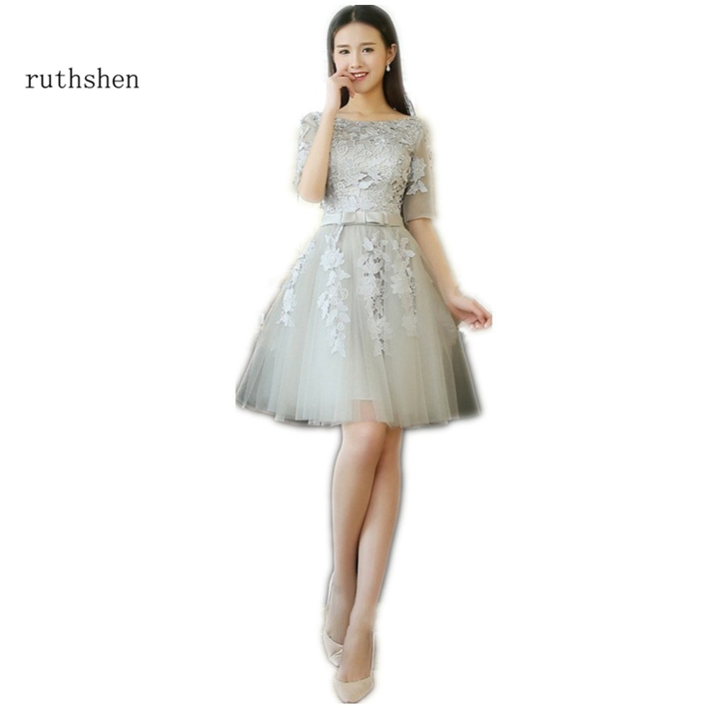 ruthshen Short Knee Length   Prom     Dresses   2018 Half Sleeves Lace Appliques Tulle Cheap Under 100 Formal