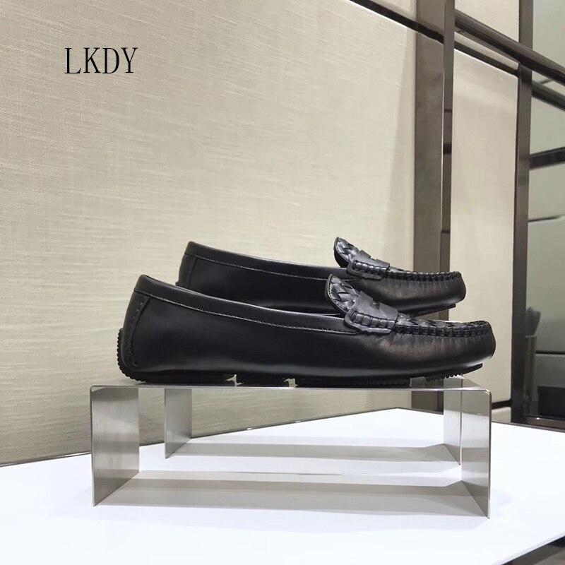 2019 LKDY women top quality Genuine Leather woven ballet flats women s dance shoes