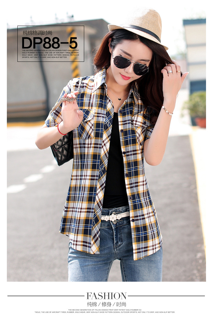 HTB10mYRHFXXXXalXXXXq6xXFXXXO - New 2017 Summer Style Plaid Print Short Sleeve Shirts Women