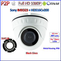 HD 1080P Vandalproof Security Cctv Dome Surveillance Night Vision Camera Ip Support Iphone Android 3 6mm