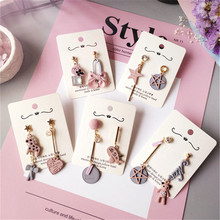 Korean Handmade Cute Pink Heart Star Horse Asymmetric Women Dangle Drop Earrings Fashion Jewelry Accessories Wholesale Gift-JQC