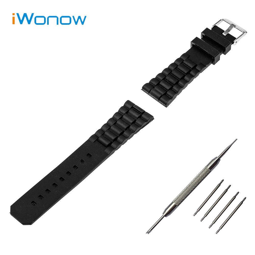 Silicone Rubber Watch Band 20mm for Ticwatch 2 42mm Stainless Steel Pin Buckle Strap Wrist Belt Bracelet + Spring Bar + Tool 20mm stainless steel watch band curved end strap for ticwatch 2 42mm butterfly buckle wrist belt bracelet black silver tool