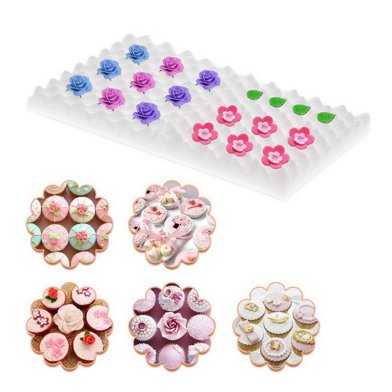 2pcs/set Fondant Mold Cake Decorating Tool Chocolate Sugar Flower Petal Drying Foam Mat Shaping Sponge Pads Gum Paste Mold W8 Home & Garden