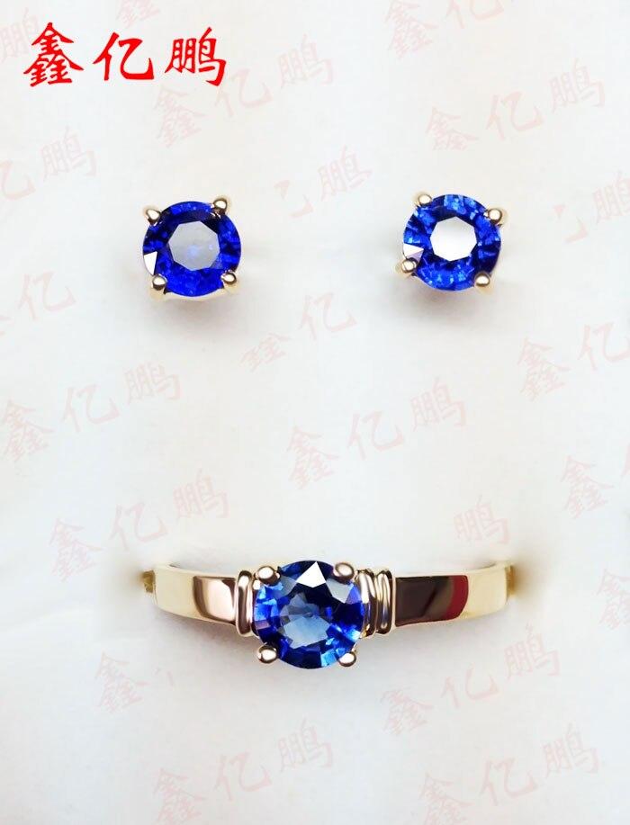 18 К золото инкрустированные Природный Шри Ланки сапфировые серьги костюм кольцо серьги Королевский синий цвет