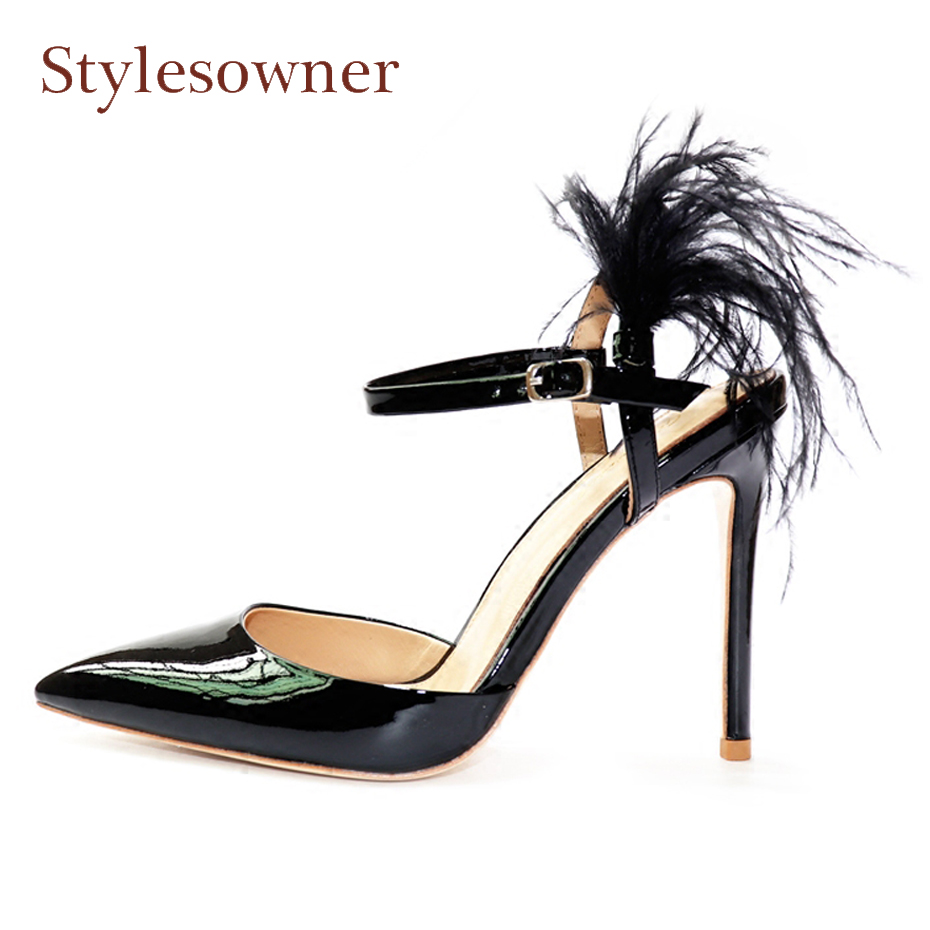 Stylesowner sexy pointed toe high heel women shoes spring summer slingback feather decor pumps ladies party shoes stiletto heels moonmeek spring summer new arrive high heels pointed toe with buckle sexy flock thin heel women pumps wedding party shoes