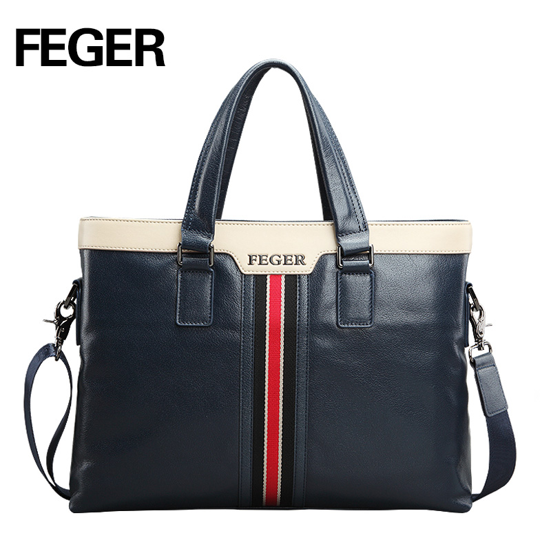 FEGER Fashion Leather Men Handbag Business Shoulder Bag Genuine Leather Messenger Bags Computer Laptop Handbag Bag Free Shipping hot sale fashion men bags feger men genuine leather messenger bag high quality man brand business bag men shoulder bags