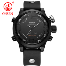 Ohsen Big Dial Sports Mens Watches Top Brand Luxury Analog LED Quartz Waterproof Men Watch Rubber Water resistant Military Clock цена