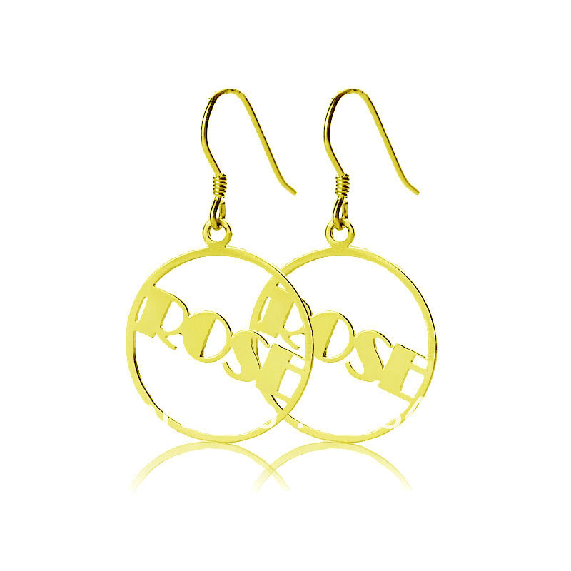 ᗚFreeshipping-ronda personalizada nombre gota pendientes oro Color ...