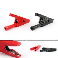 Areyourshop Sale 20pcs Black Red Battery Test Clip Copper 20mm Mouth Alligator Clips For 4mm Banana