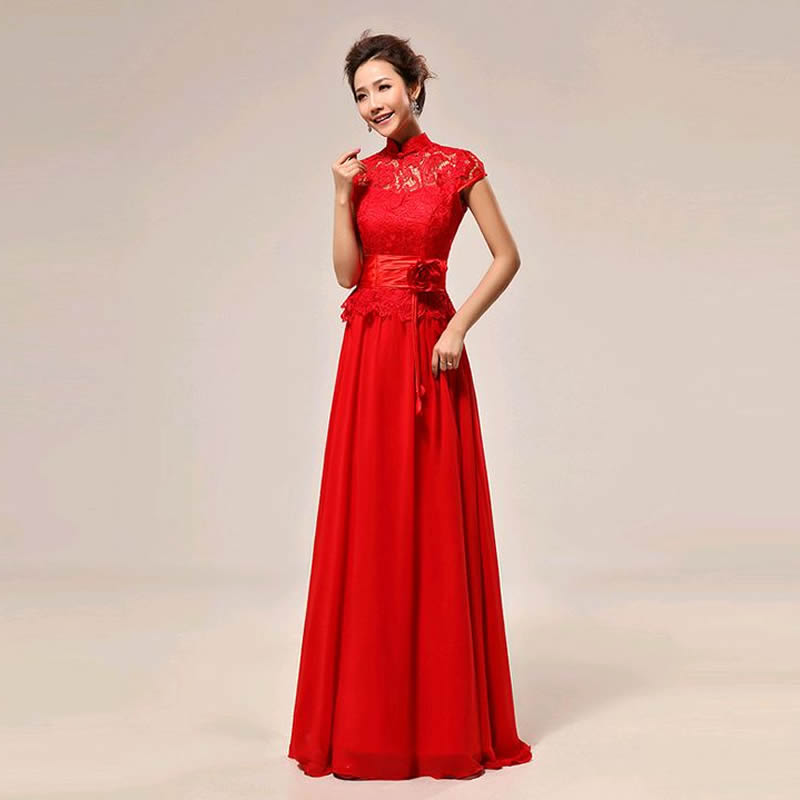 Red Lace Cheongsam Chinese Traditional Dress Qipao Modern Women