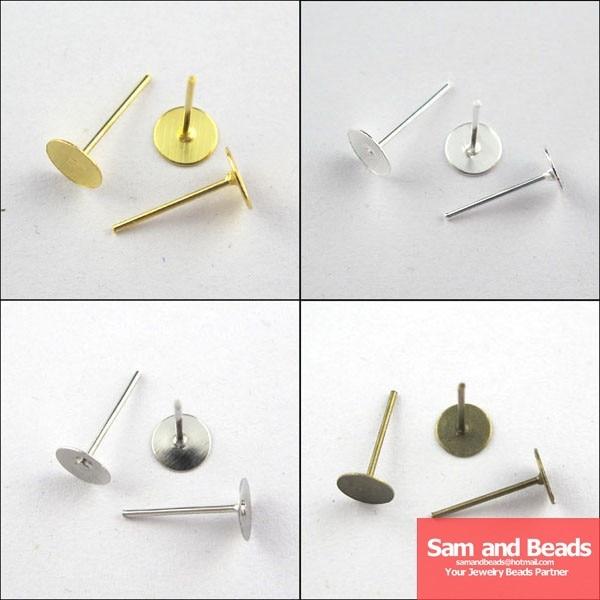 Envío Gratis 300 unids/pack 6x12mm pendiente encontrar plano redondo en blanco clavijas y postes de oreja pendiente de cabeza de oro ¡plata, plata bronceada