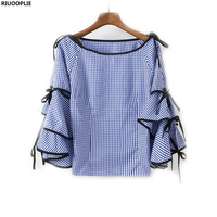 RIUOOPLIE Women Blouse Boat Neck Plaid Bow Tie Split Ruffle Long Sleeve Shirt Tops Women Clothing