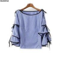 RIUOOPLIE Women Blouse Boat Neck Plaid Bow Tie Split Ruffle Long Sleeve Shirt Tops Women Clothing