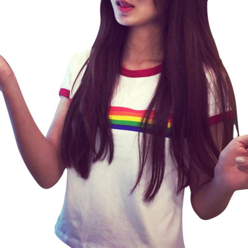2017 Rainbow Casual Stripe T-shirt Slim Tees All-Match Cotton Short-Sleeve O-Neck Harajuku top Short shirt
