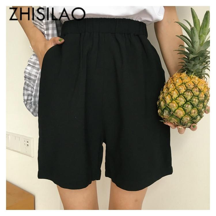 Solid Short Chic Vintage Black High Waist Short Women Summer 2019 Elastic Waist Casual Short Femme Loose Cotton Short Mujer