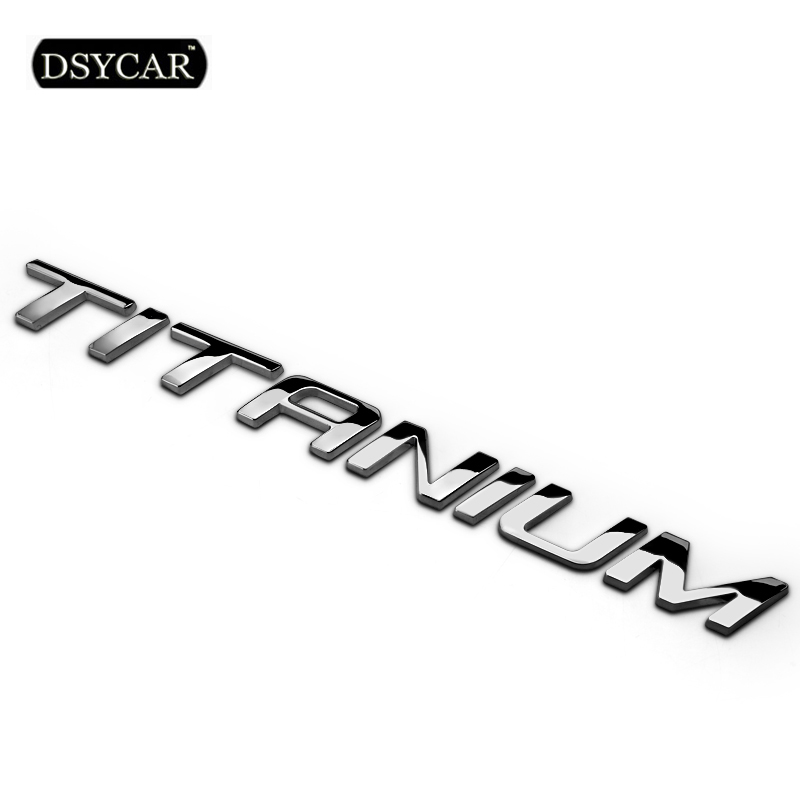 Dsycar 1Pcs 3D Metal TITANIUM Car Side Fender Rear Trunk Emblem Badge Sticker Decals for Ford EcoBoost EDGE Explorer 3d metal auto car performance badge decal fender emblem for trd sports racing