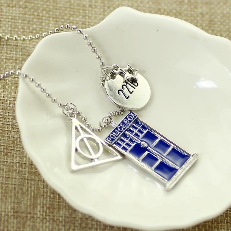 The Deathly Hallows 221B Small Plate and Blue Doctor Who TARDIS Police Box Pendant Necklace DIY Fashion Jewelry for Women Men