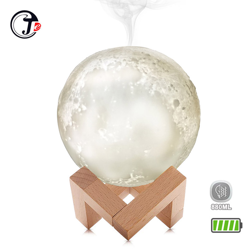 3D Moon 880ML Air Humidifier Ultrasonic Humidificador Light USB Cool Mist Diffuser Aroma Essential Oil  (with battery/No battery