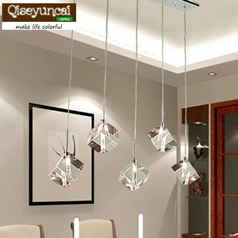 T Transparent Crystal LED Dining Room Bar Pendant Light Modern Fashion Lamps For Home Living Room Simple Creative Free shipping modern fashion luxurious rectangle k9 crystal led e14 e12 6 heads pendant light for living room dining room bar deco 2239