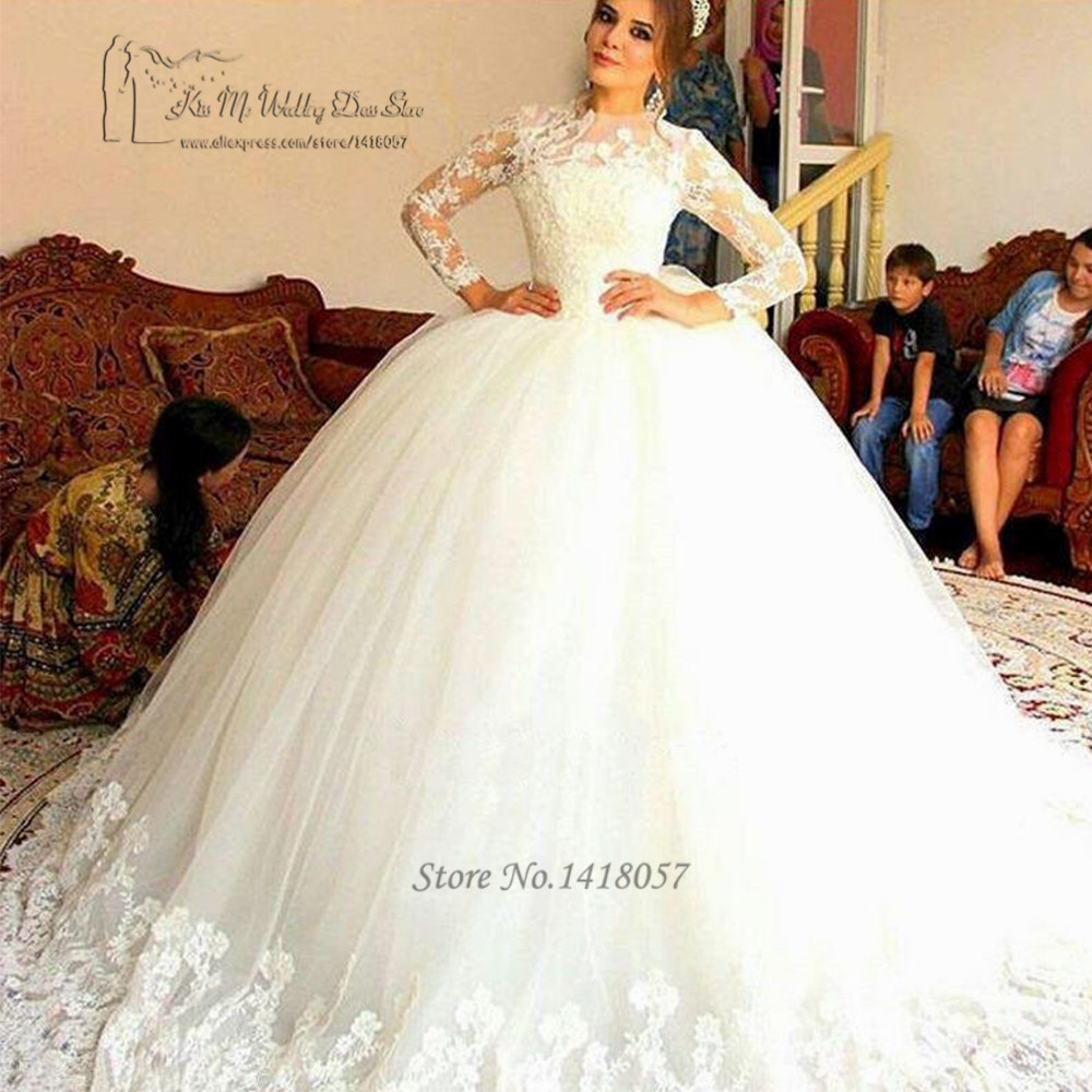 Vintage Long Sleeve Wedding Dress Ball Gown Lace Wedding Gowns Puffy ...