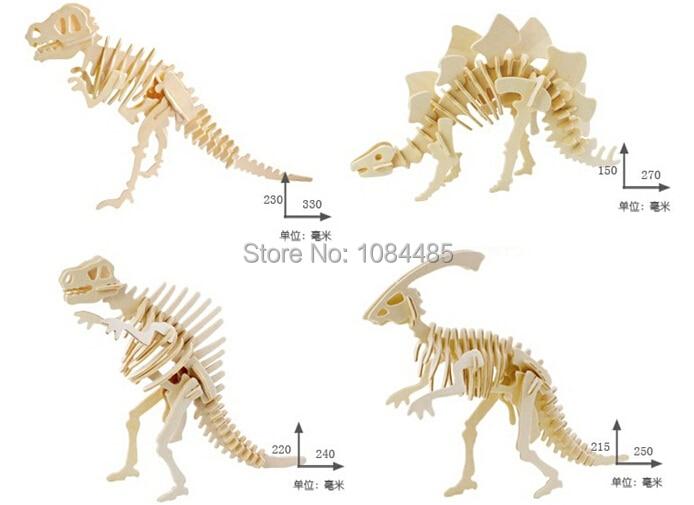4PCS / παρτίδα DIY 3D ξύλινα παζλ μοντέλο δεινοσαύρων συναρμολογεί κιτ εκπαιδευτικά παιχνίδια για παιδιά και ενήλικες