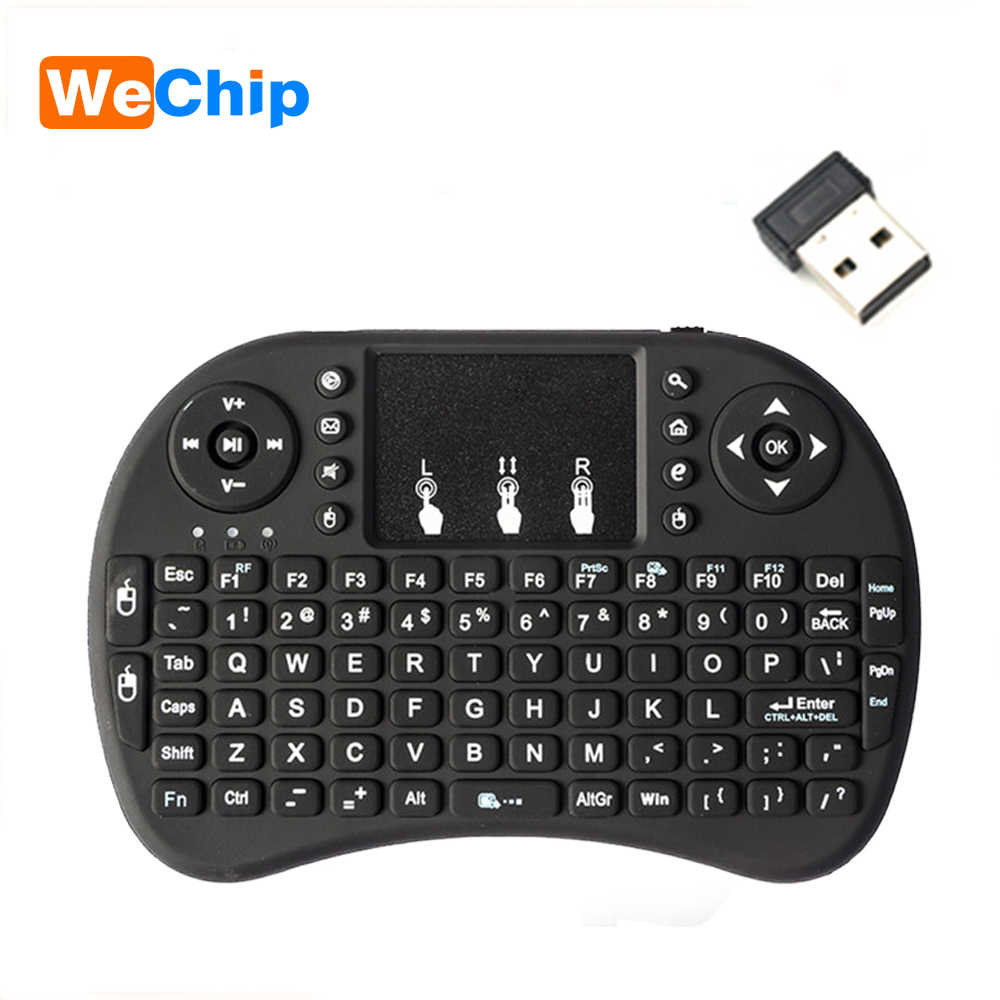 Wecchip i8 versión rusa en inglés 2,4 GHz teclado inalámbrico Air Mouse con panel táctil de mano trabajo con Android TV BOX Mini PC 18