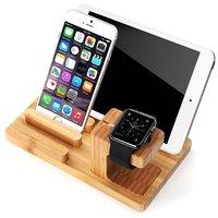 Natural Bamboo Wood Charger 3 USB Ports US EU UK Plug Charging Dock Station Stand Holder