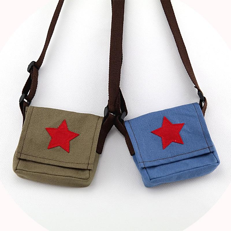 Child Kids Girls Canvas Red Star Bags Handbag Messenger Shoulder Bag Handbags Pocket Purse Satchel Adjustable Shoulder Strap