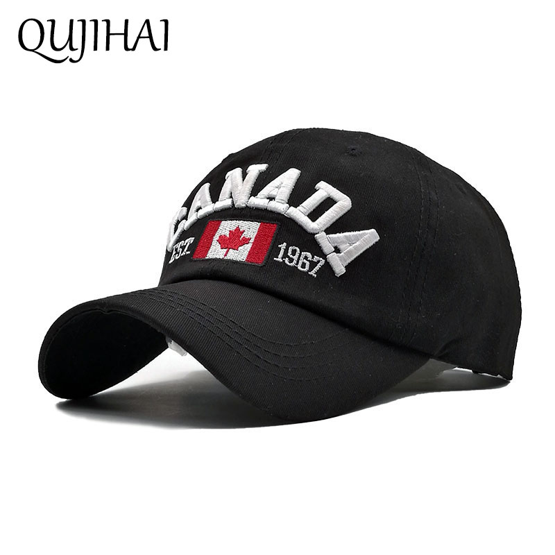 QUJIHAI Cotton Hat Baseball Cap CANADA Flat EST 1967 Fitted Hat Snapback Caps Men Women Gorras Hombre Bone Casquette Homme kioninai youth baseball cap brand holes rag fitted hat adjustable snapback cap women men gorras bone masculino casquette homme