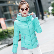 2017 Autumn Winter Women Polyester-padded Jacket Female Slim Hooded Jacket Long Sleeve Outerwear Red Mint Pink Black M L XL XXL
