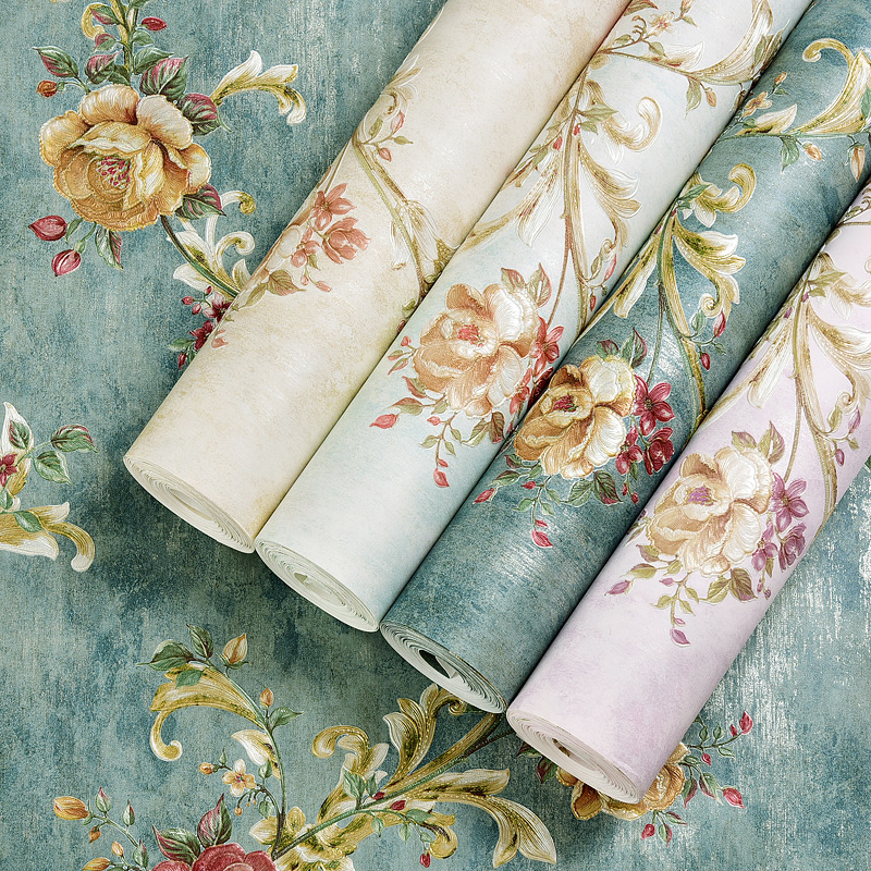 купить Vintage American Country Wallpaper 3D Embossed Flowers Pastoral Wall Paper For Bedroom Living Room Home Decor Papel De Parede по цене 1787.49 рублей
