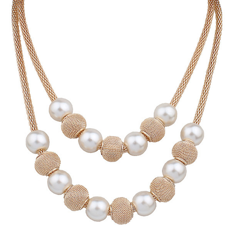 Free Shipping New Design Simulated Round Pearl Gold Chain Necklace For Women Bridal Jewelry Wedding Gifts Multi Layer Necklace Chain Tool Chain Bearchain Track Aliexpress