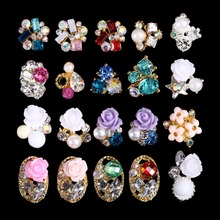 100PCS 3241-3260 new Alloy 3D Nail Art Stickers Clear Alloy Rhinestone Pearl Flower Nail Art Slices DIY Decorations  недорого