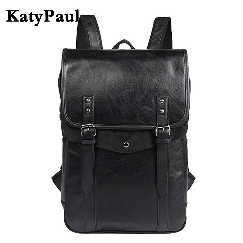 KatyPaul Brand Fashion Leather Men Casual Backpacks Vintage Shoulder School Bag Daypacks Boy Korean Travel Laptop Bags Mochila brand bag backpack female genuine leather travel bag women shoulder daypacks hgih quality casual school bags for girl backpacks
