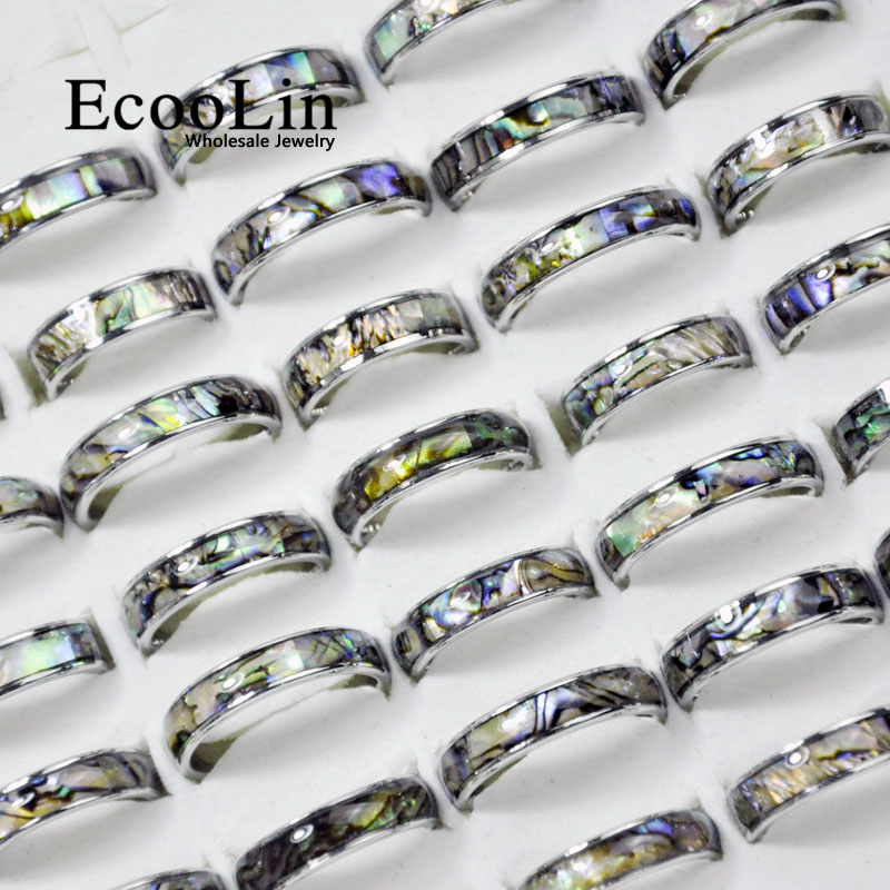 10Pcs EcooLin Brand Fashion Natural Shellfish Abalone Shell 316L Stainless Steel Rings For Women Jewelry Lots Bulk LR4029