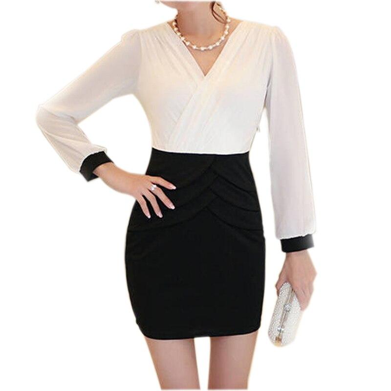 Autumn Elegant Mini Bodycon Dresses Women Chiffon Dress Long Sleeve Sexy V Neck Slim Office Dress Korea Style Black/Blue/Rose short dresses office wear