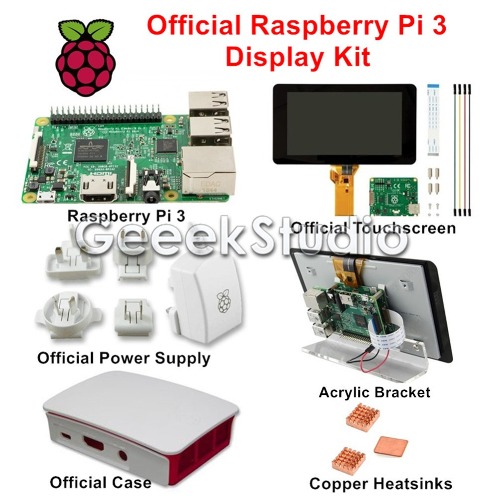 Official Raspberry Pi 3 Display Kit with 7 inch 800x480 Touch Screen 5.1V 2.5A Power Supply Case Copper Heatsink Acrylic Bracket