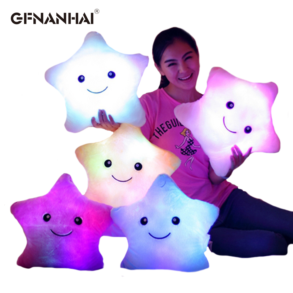 Stuffed Animals & Plush Toys & Hobbies 1pc 38cm Colorful Star Shape Toys Star Glowing Led Luminous Light Pillow Soft Relax Gift Smile Body Pillow Valentines Gift Attractive Designs;