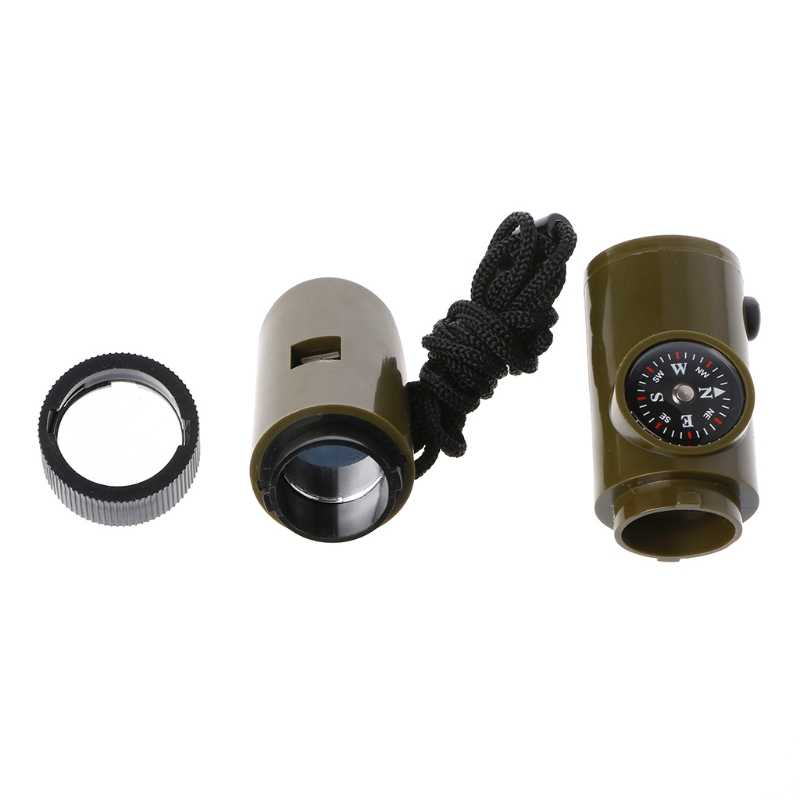 New 7 in 1 Field Survival Whistle Compass Thermometer Flashlight Magnifier Outdoor Multifunction Tools