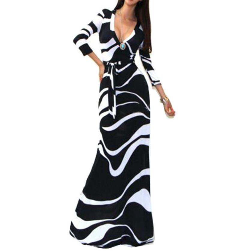 Graffiti Dress Black And White Long Sleeve Fashion White Dress