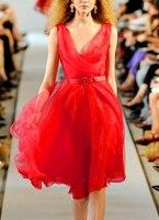 Видеть оранжевый симпатичное красное платье из органзы, Пляжное Платье сексуальное с v образным вырезом в богемном стиле из тонкой прозрачн