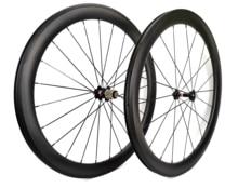 700C 50mm derinlik yol bisikleti karbon tekerlekler 25mm genişlik bisiklet kattığı/boru şeklindeki karbon tekerlekler et U şekli jant özelleştirilebilir çıkartmaları