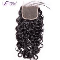 Lemoda Hair Brazilian Water Wave Lace Closure 130% Density Human Hair Extension Closures free part Remy Hair Closure free ship