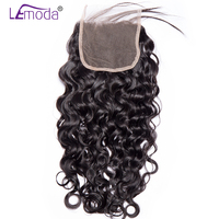 Lemoda Hair Brazilian Water Wave Lace Closure 130% Density Human Hair Extension Closures free part Remy Hair Closure free ship