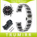18mm 20mm 22mm faixa de relógio de aço inoxidável + cerâmica quick release strap para breitling homens mulheres butterfly fivela pulseira de pulso