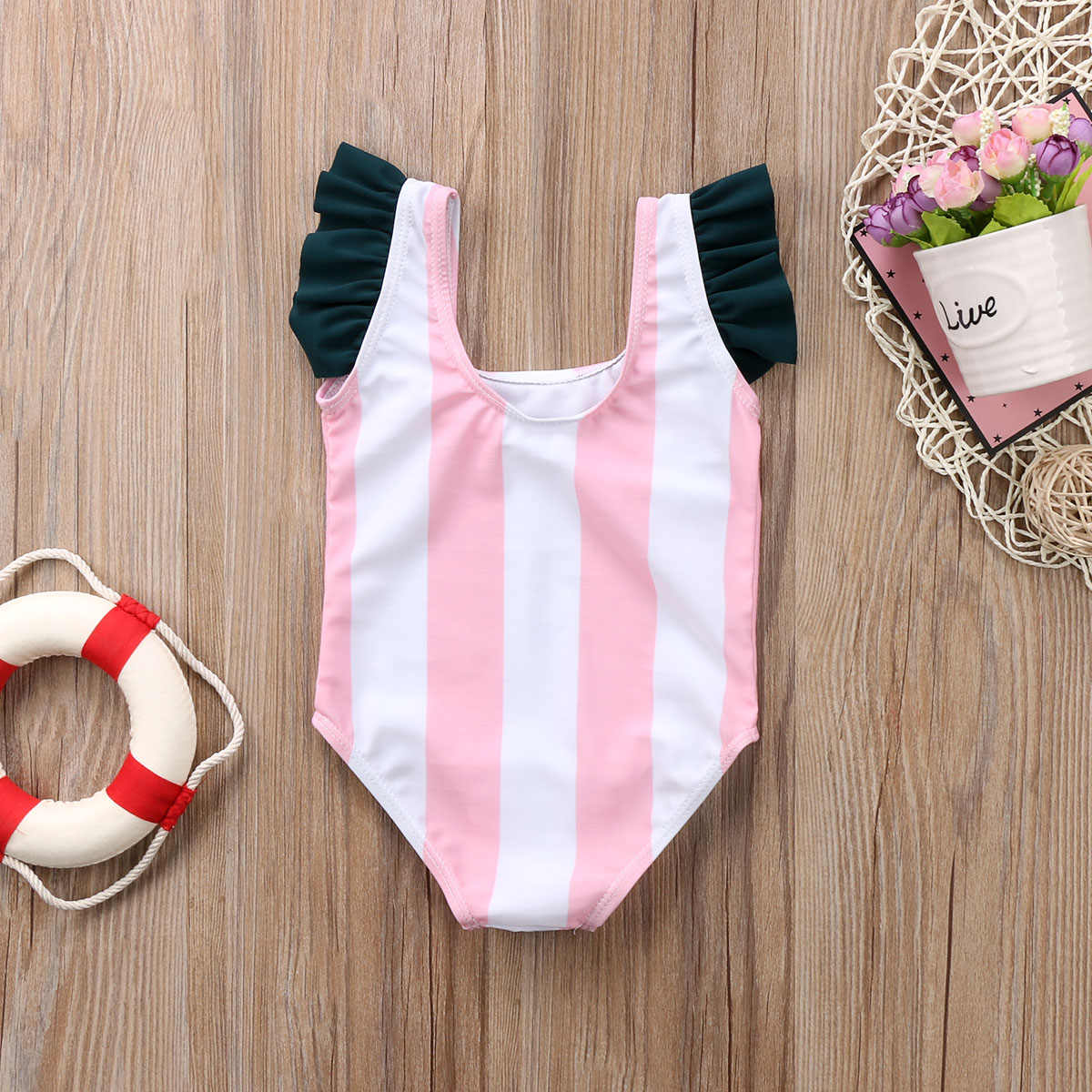 1bc3975eac ... Emmababy Newborn Baby Girls Cartoon Stripes One Piece Swimwear Swimsuit  Clothes Bathing Suit