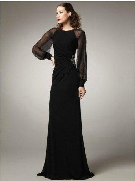 Cheap Robe De Soiree New Fashion Black Long Sleeve Kaftan Party