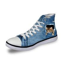 Noisydesigns Damen Vintage High Top Turnschuhe Mädchen Casual vulkanisierte Schuhe Frauen Denim Farbe 3D Katze drucken flache Leinwand Schuhe